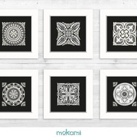 EXOTIC PAPER set, Exotic Mosaic, Oriental Wall Decor, art prints, Home Decor, Marbella decor, Housewarming gift, 6x6
