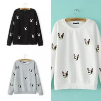 Dog Embroidered Pattern Sweater