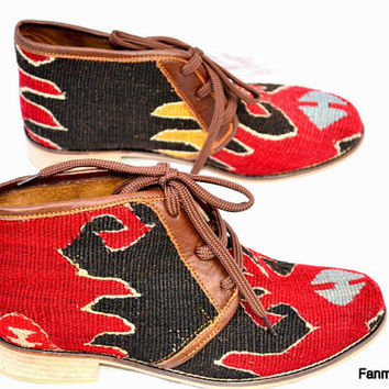 20% OFF EU 39 US 8.5Woman kilim booty, leather ankle boots, vintage, booties, slippers, shoes, oxfords, ethnic, bohemian, Nomads, footwear (