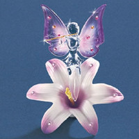 Glass Baron Lavender Fairy Flutist on a Lily Figurine