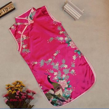 2-8Y Lovely Girls Kids Dress Peacock Cheongsam Chinese Qipao Baby Clothes