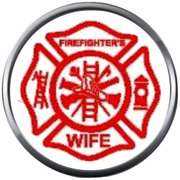Red Maltese Cross Firefighter Ladder And Axe Wife Thin Red Line Courage Under Fire 18MM-20MM Snap Charm Jewelry New Item