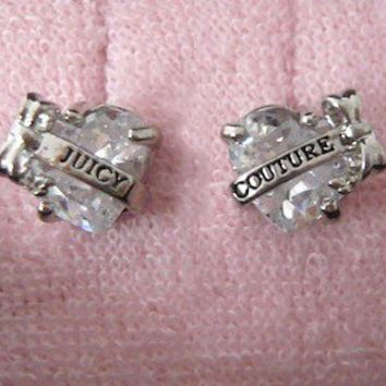 """Auth Juicy Couture Faceted Heart with """"Juicy"""" Banner Stud Earrings Studs $48"""