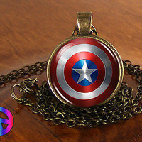 Captain America Superhero Men Women Glass Fashion Necklace Pendant Jewelry Gift