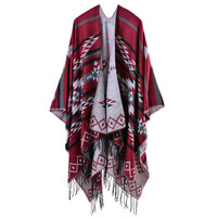 Geometric Striped Open Front Tassel Fringe Duplex Cashmere Knitted Pashmina Cape Shawl in Red