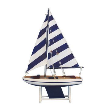 "Wooden It Floats 12"" - Rustic Blue Striped Floating Sailboat Model"