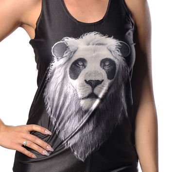 Black Panda Lion Tank Top Design 13092