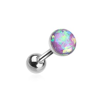 Purple Opal Sparkle Cartilage Tragus Helix Earring 16ga Surgical Steel