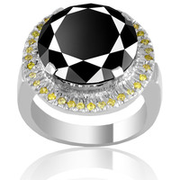 6ct  Round Brilliant Cut Black diamond ring in 14 K Gold with Yellow Diamonds