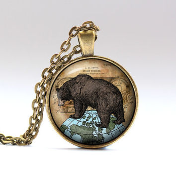Bear jewelry Animal pendant Antique necklace SNW2