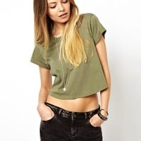 ASOS Crop T-Shirt with Roll Sleeve