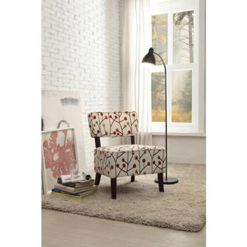 Modern Colored Poppies Fabric Padded Accent Chair In Multicolor
