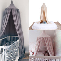Cotton 6 Colors Hanging Kids Baby Bedding Dome Bed Canopy Mosquito Net Bedcover Curtain for Baby Kids Reading Playing Home