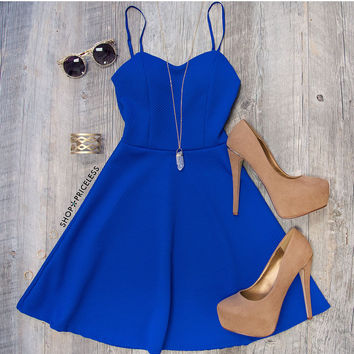 Tina Bell Dress - Royal Blue