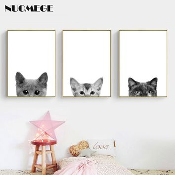Nordic Poster Canvas Wall Art Pet Cat Dog Canvas Painting Minimalist Nursery Wall Pictures Print for Kids Room Art Picture Decor