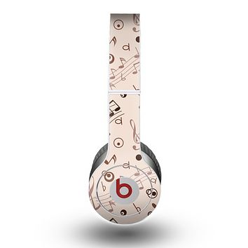 The Tan Music Note Pattern Skin for the Beats by Dre Original Solo-Solo HD Headphones