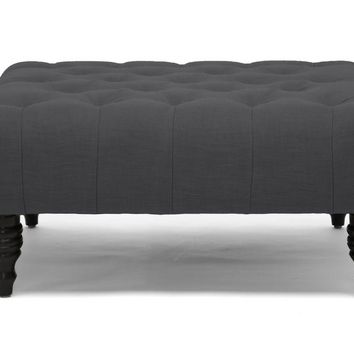 Baxton Studio Keswick Dark Gray Linen Modern Tufted Ottoman Set of 1