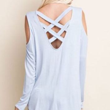 Cold shoulder top with intricate criss cross binding