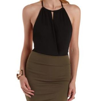 Black plunging halter wrap bodysuit by from charlotte russe