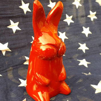 Red Rabbit Polymer Clay Animal Sculpture Animal Ornament