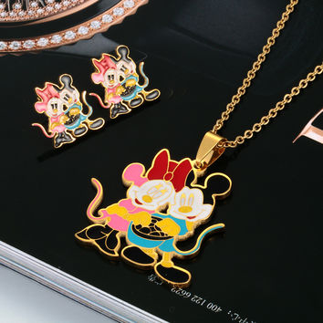 Cute Cartoon Mouse Pendant Necklace Earrings Stainless Steel Jewelry Set 18K Gold Plated for women girl child Birthday Gifts