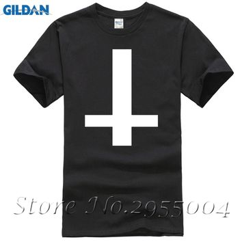 Inverted Cross Men's Usa T Shirt ANTI CROSS SATAN goth metal punk