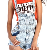 Denim Overall Shorts - Light Wash