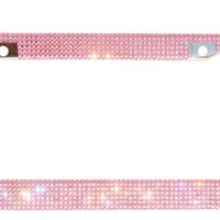 Carfond Pure Handmade Bling 7 Row Rhinestones Stainless Steel License Plate Frame With Hot Pink Bow (Pink stone with Pink bowknot)