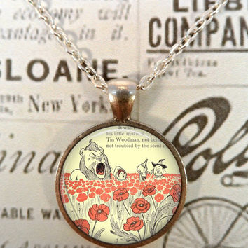 Wizard of Oz Necklace, Flying Monkeys, Wicked Witch, Ruby Slippers, Dorothy, Steampunk, Literary Quotes T1178