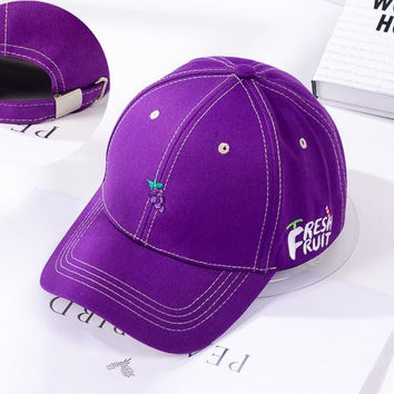Purple Grape Embroidered Baseball Cap Hat