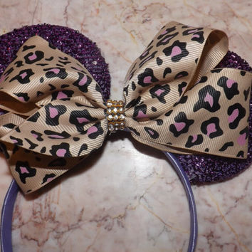 Minnie Mouse ears headband purple ears cheetah print bow Mickey Mouse Ears, Disneyland, Disney World