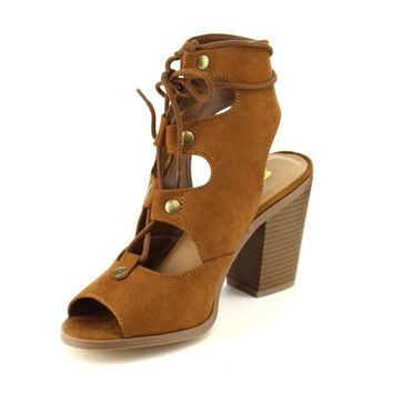 Women's Faux Suede Cut Out Strappy Lace Up Open Toe Cutout Back Studs Stacked Chunck Heel Dress Sandals Shoes