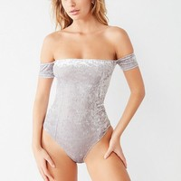 Out From Under Everly Crushed Velvet Off-The-Shoulder Bodysuit | Urban Outfitters