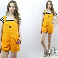 Mustard Overalls Marigold Overalls 70s Overalls 70s Shortalls Turtle Bax Overalls 1970s Overalls Yellow Overalls High Waisted 70s Shorts M L