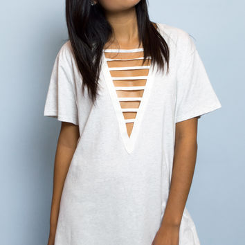 Alexus Lace Up Oversize T-shirt - Heather Grey