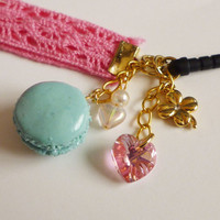 Macaron Charm - Kawaii Deco Sweets/Decoden Polymer Clay Macaron With Swarvoski Crystal Heart  iPhone Charm/ Smartphone Charm/ Dustplug Charm