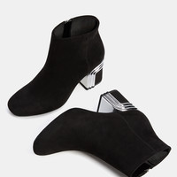 Mid heel ankle boots with metal detail - SHOES - Bershka United Kingdom