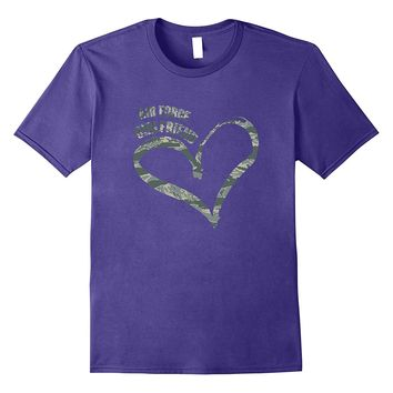 Military Proud Air Force Girlfriend Heart Camoflage T-shirts