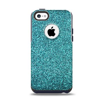 The Teal Glitter Ultra Metallic Apple iPhone 5c Otterbox Commuter Case Skin Set