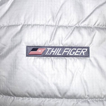 HILFIGER SPACE PROGRAM silver vest - vintage - tommy hilfiger jacket - metallic - mens large