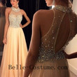 Halter Prom Dress 2016, Long Backless Prom Dress, Pink Prom Dress, Pink Evening Dress