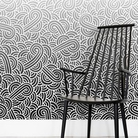 'Ombre black and white swirls doodles' Wallpaper by Savousepate on miPic