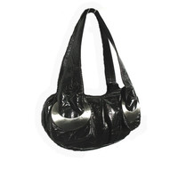 Authentic vintage unique ESPE Canada Vegan manmade faux textured Black Leather & modern silver art deco design genuine retro hobo handbag