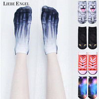 LIEBE ENGEL 2017 Hot 3D Printed Skeleton Socks Cute Animal Cat Carton Character Dollar Bill Skull Foot Funny Socks Women