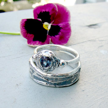 Birch bark Wedding Ring and Oxidized Sterling Silver Alexandrite Twig Ring