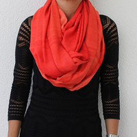 Orange Cotton Infinity Scarf - Loop Scarf - Circle Scarf - Cowl Scarf - Soft and Lightweight