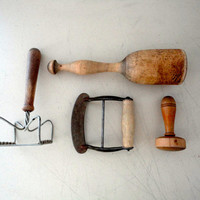 Kitchen Tool Collection Primitive Wood and Metal Tools or Mashers and Cutters