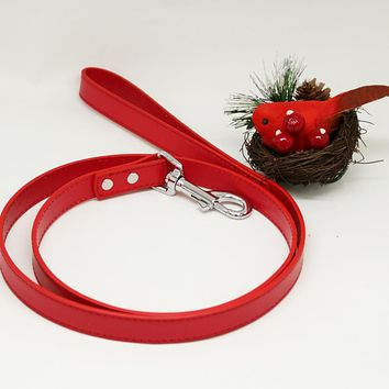 Red dog Leash, Red Leather leash, Dog Lovers, Dog Leash, Custom Red leash, cat leash, pet leash