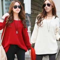 Loose Off Shoulder Long Sleeve Womens Acrylic Knitting Sweater Jumper Knitwear