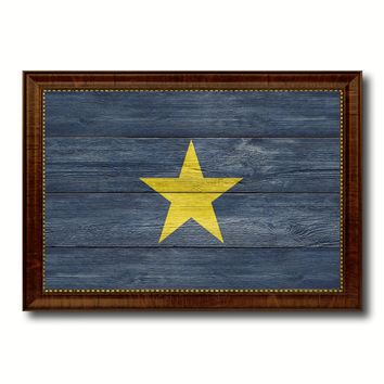 Burnet's 1st Texas Republic 1836-1839 Military Flag Texture Canvas Print with Brown Picture Frame Home Decor Wall Art Gifts